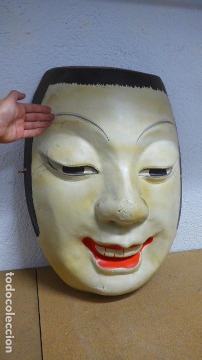 ANTIGUA ESPECTACULAR GRAN MASCARA JAPONESA, ORIGINAL. JAPON. (Arte - Étnico - Asia)