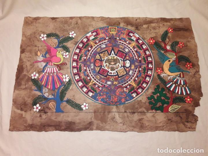 BELLA PINTURA ARTE POPULAR MEXICANO PINTADA A MANO EN PAPEL AMATE (Arte - Étnico - América)