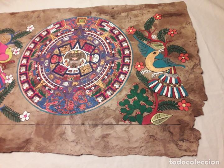 Arte: Bella pintura arte popular Mexicano pintada a mano en papel Amate - Foto 3 - 188485473