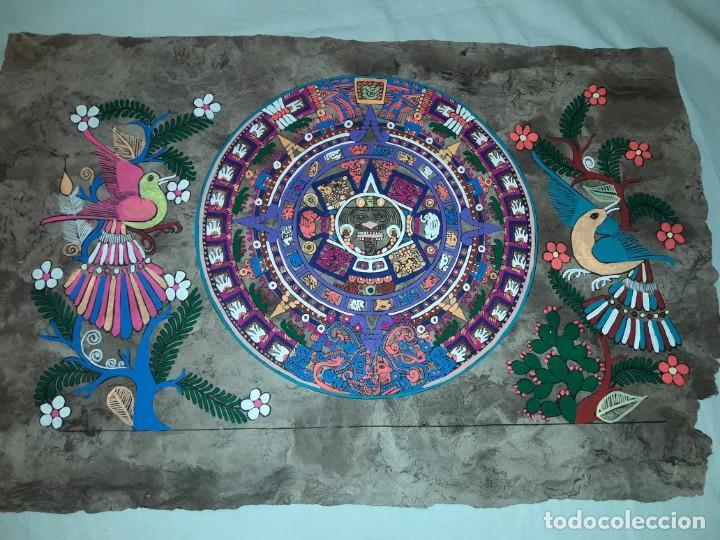 Arte: Bella pintura arte popular Mexicano pintada a mano en papel Amate - Foto 4 - 188485473
