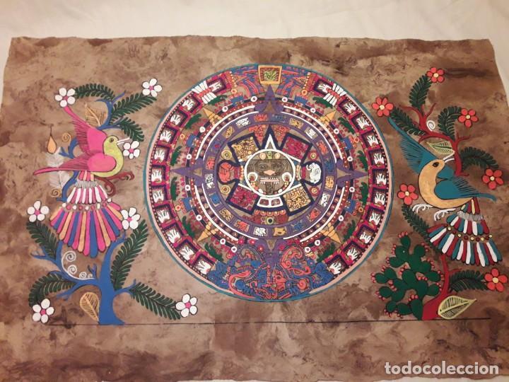 Arte: Bella pintura arte popular Mexicano pintada a mano en papel Amate - Foto 8 - 188485473