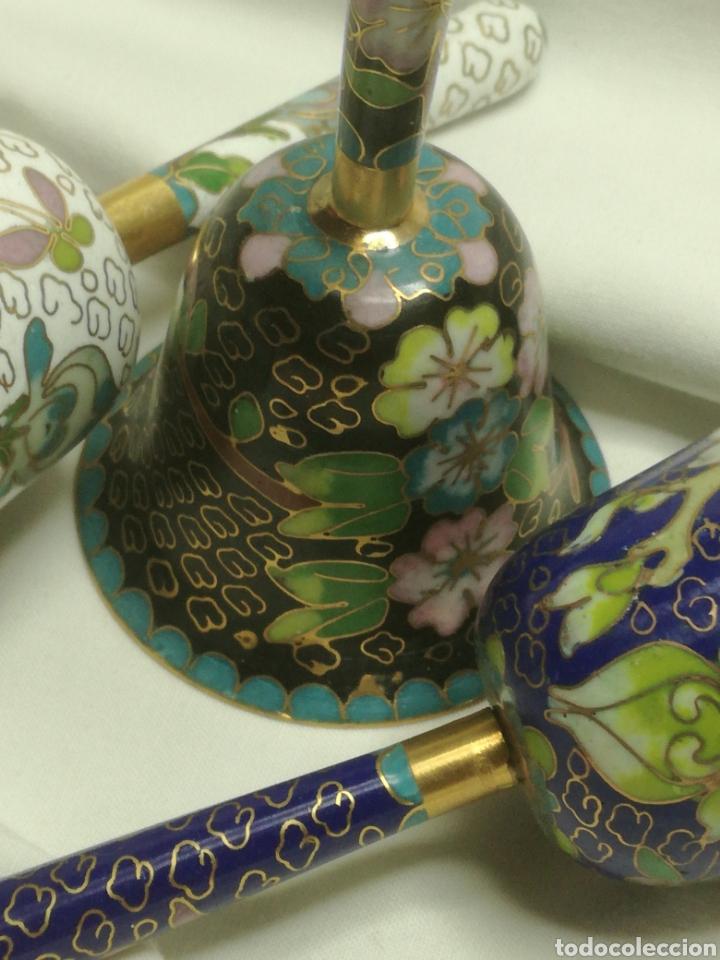 Arte: Lote 3 campanas cloisonne china - Foto 3 - 188523791