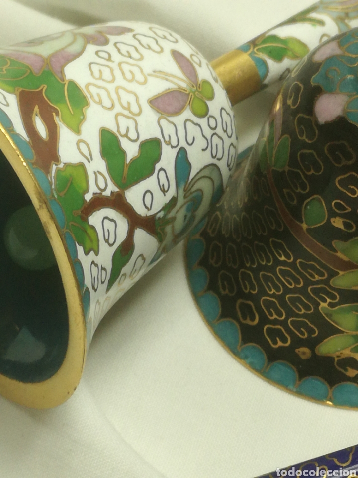 Arte: Lote 3 campanas cloisonne china - Foto 4 - 188523791