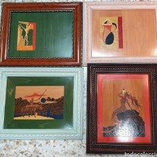 Arte: 4 CUADROS EN MADERAS NOBLES, MARQUETERÍA ARTESANAL. Lote 188594525
