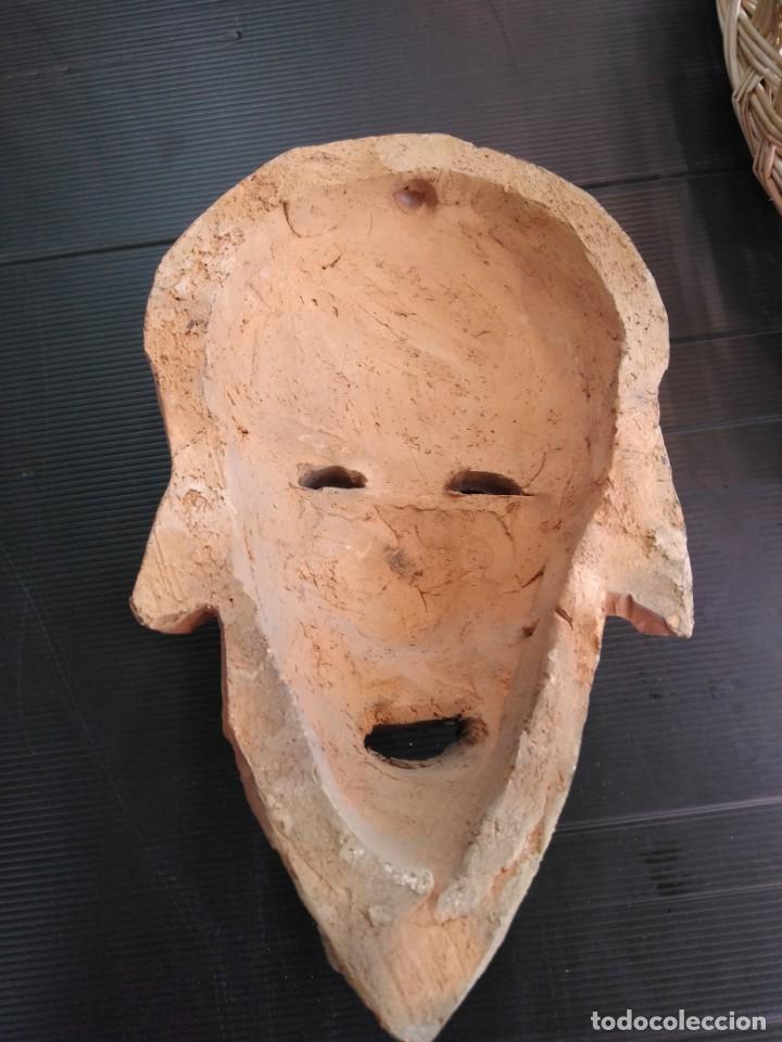 Arte: Antigua máscara terracota o barro, en perfecto estado - Foto 3 - 188605271