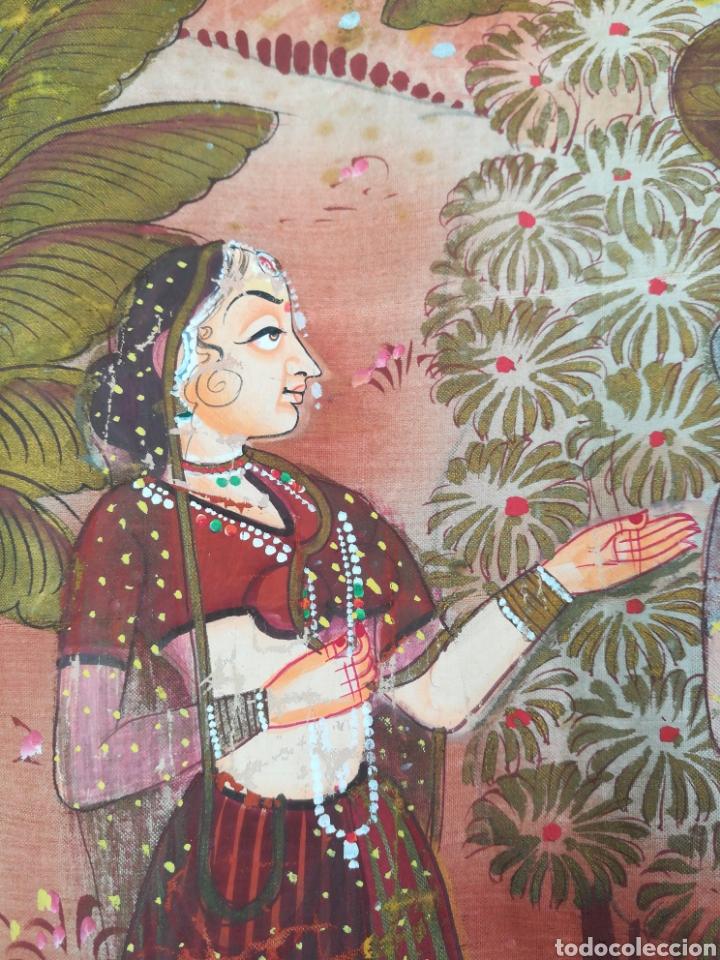 Arte: Tela se seda hindu pintado a mano - Foto 2 - 188800380