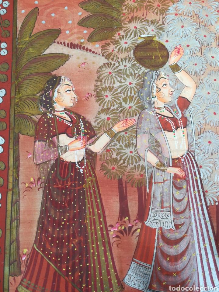 Arte: Tela se seda hindu pintado a mano - Foto 3 - 188800380