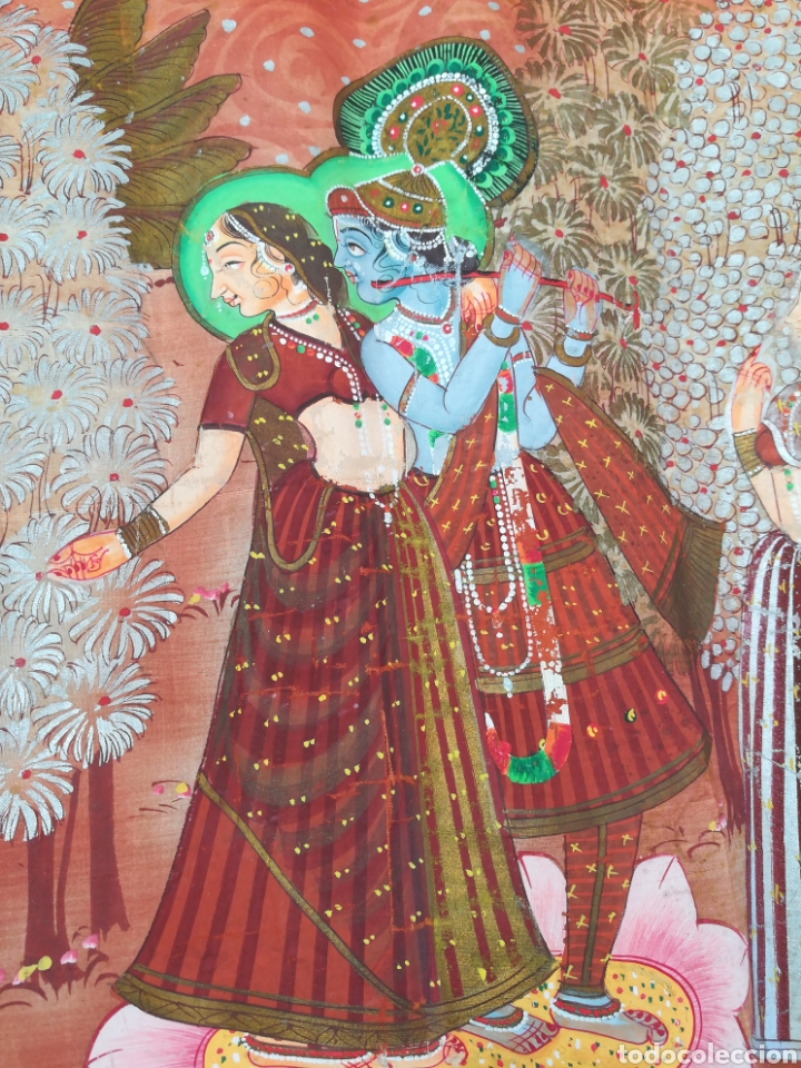 Arte: Tela se seda hindu pintado a mano - Foto 4 - 188800380