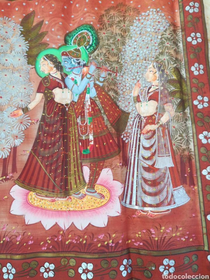 Arte: Tela se seda hindu pintado a mano - Foto 5 - 188800380