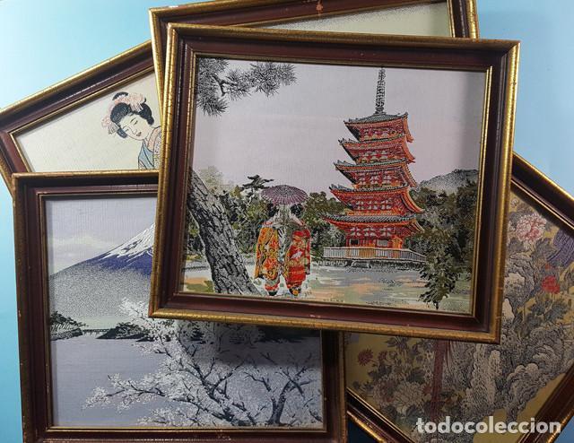 LOTE 5 CUADROS JAPONESES BORDADOS SOBRE TELA CON MARCO Y CRISTAL (EXCEPTO UNO) VER DESCRIPCION (Arte - Étnico - Asia)