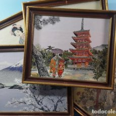 Arte: LOTE 5 CUADROS JAPONESES BORDADOS SOBRE TELA CON MARCO Y CRISTAL (EXCEPTO UNO) VER DESCRIPCION. Lote 189204738