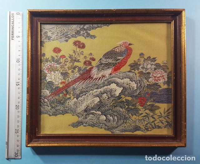 Arte: LOTE 5 CUADROS JAPONESES BORDADOS SOBRE TELA CON MARCO Y CRISTAL (EXCEPTO UNO) VER DESCRIPCION - Foto 2 - 189204738
