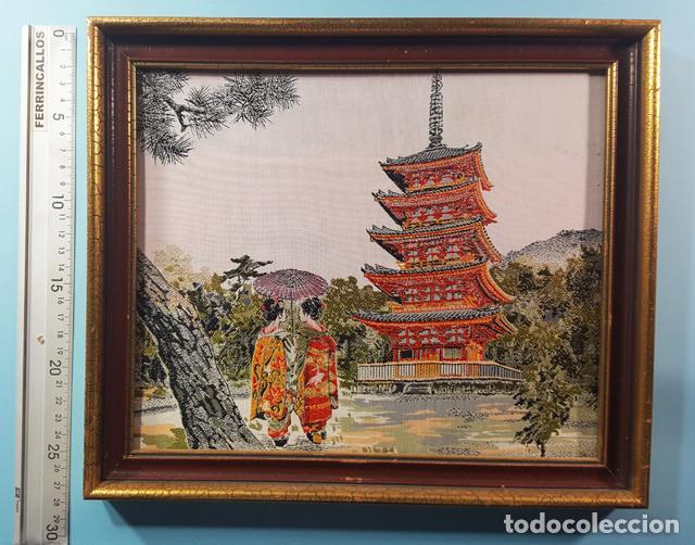 Arte: LOTE 5 CUADROS JAPONESES BORDADOS SOBRE TELA CON MARCO Y CRISTAL (EXCEPTO UNO) VER DESCRIPCION - Foto 4 - 189204738