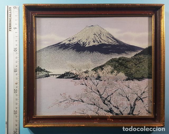 Arte: LOTE 5 CUADROS JAPONESES BORDADOS SOBRE TELA CON MARCO Y CRISTAL (EXCEPTO UNO) VER DESCRIPCION - Foto 6 - 189204738