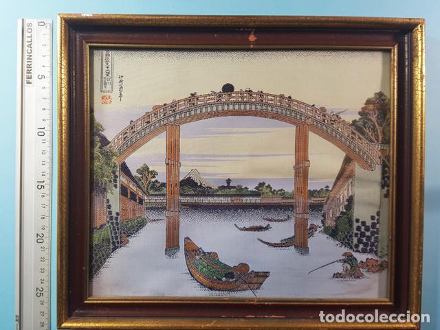 Arte: LOTE 5 CUADROS JAPONESES BORDADOS SOBRE TELA CON MARCO Y CRISTAL (EXCEPTO UNO) VER DESCRIPCION - Foto 9 - 189204738