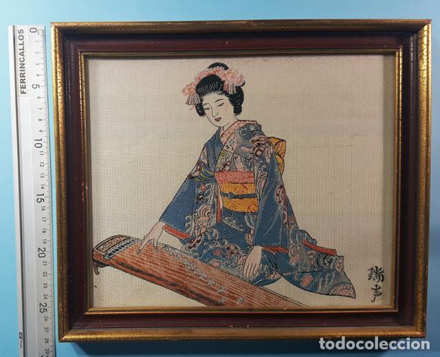 Arte: LOTE 5 CUADROS JAPONESES BORDADOS SOBRE TELA CON MARCO Y CRISTAL (EXCEPTO UNO) VER DESCRIPCION - Foto 11 - 189204738