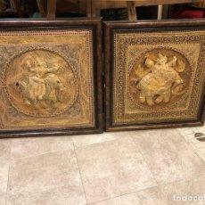 Arte: PAREJA DE BORDADOS TAILANDESES EN ORO, GRAN RELIEVE. Lote 189503336