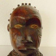 Arte: CABEZA ÉKOI - MADERA FORRADA EN CUERO Y CAÑAS - NIGERIA. ESPECTACULAR.. Lote 190814642