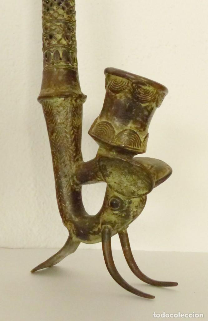 Arte: PIPA DE BRONCE AFRICANA - ETNIA BAMUN - CAMERUN - 51 CM. - Foto 2 - 190821212