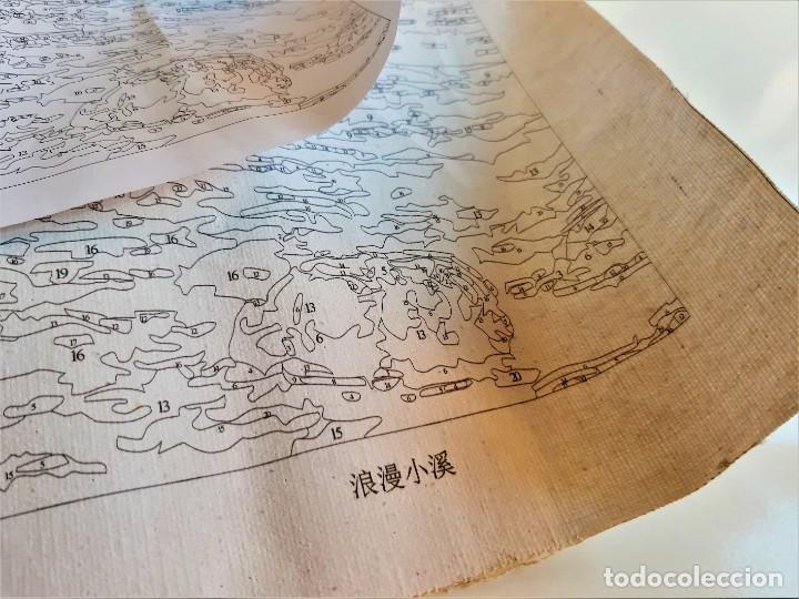 Arte: LAMINA EN LIENZO CON CURIOSO GRABADO JAPONES CREO QUE PARA DAR COLOR POR QUE ESTA NUMERADO TODO - Foto 3 - 191106326
