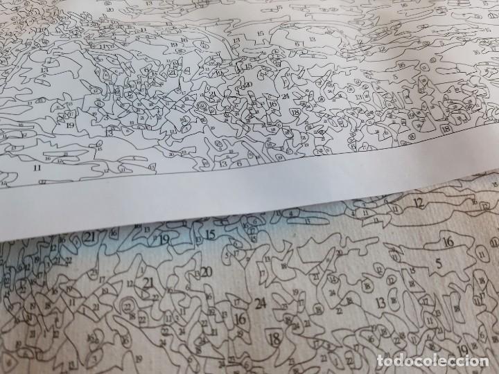 Arte: LAMINA EN LIENZO CON CURIOSO GRABADO JAPONES CREO QUE PARA DAR COLOR POR QUE ESTA NUMERADO TODO - Foto 5 - 191106326