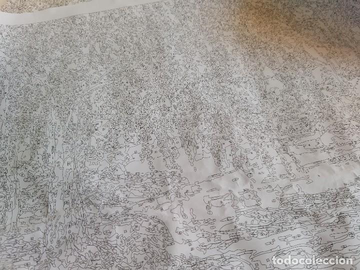 Arte: LAMINA EN LIENZO CON CURIOSO GRABADO JAPONES CREO QUE PARA DAR COLOR POR QUE ESTA NUMERADO TODO - Foto 6 - 191106326