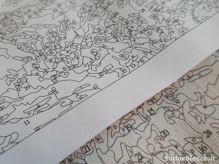 Arte: LAMINA EN LIENZO CON CURIOSO GRABADO JAPONES CREO QUE PARA DAR COLOR POR QUE ESTA NUMERADO TODO - Foto 10 - 191106326