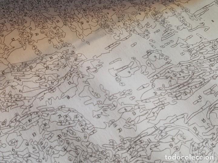 Arte: LAMINA EN LIENZO CON CURIOSO GRABADO JAPONES CREO QUE PARA DAR COLOR POR QUE ESTA NUMERADO TODO - Foto 12 - 191106326