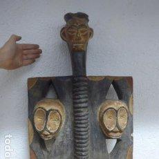 Arte: ANTIGUA GRAN ESCULTURA BASTON DE MANDO DE MADERA TALLADA AFRICANA, ORIGINAL, DE TRIBU.. Lote 191226593