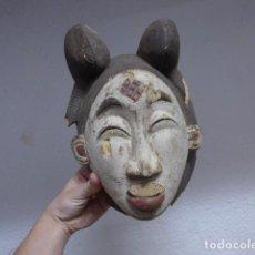 Arte: ANTIGUA MASCARA DE MADERA TALLADA DE TRIBU AFRICANA, DE LOS PUNO. ORIGINAL.. Lote 191227137