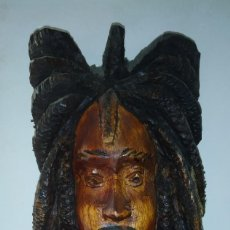 Arte: MASCARA TALLADA EN MADERA BOB MARLEY. Lote 191232830