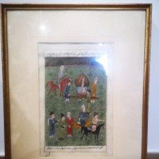 Arte: ANTIGUA PINTURA PERSA SOBRE PAPEL. ORIGINAL, CON ESCRITOS. ENMARCADA MIDE 40X51CM. Lote 193073830