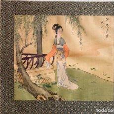 Arte: SEDA MADE IN CHINA , COMIENZOS S. XX , PINTADA A MANO , OBRA FIRMADA. Lote 193172500