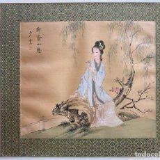 Arte: SEDA MADE IN CHINA , COMIENZOS S. XX , PINTADA A MANO , OBRA FIRMADA. Lote 193172805
