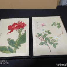 Arte: 2 CUADROS ARTE JAPONES EN TELA PINTADOS A MANO 27 X 37 CM. Lote 193392020