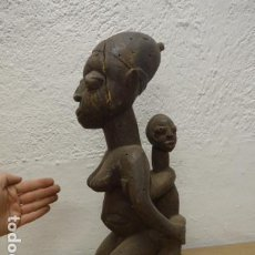 Arte: ANTIGUA ESCULTURA MATERNIDAD DE MADERA TALLADA AFRICANA, ORIGINAL, DE TRIBU YORUBA DE NIGERIA. Lote 193426881
