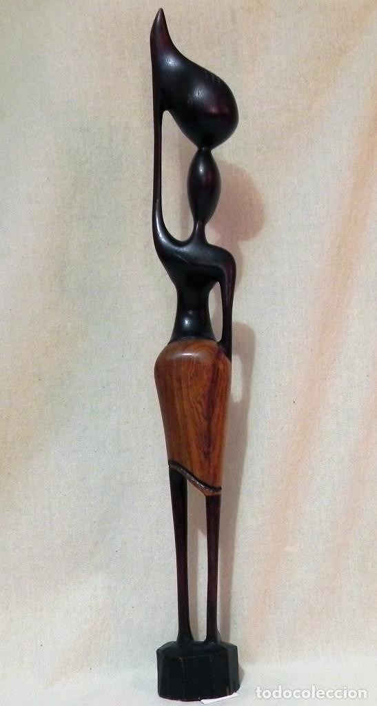 Arte: Escultura AFRICANA Talla Madera Ébano Figura Mujer Campesina Artesanía África Estatua - Foto 3 - 194010817