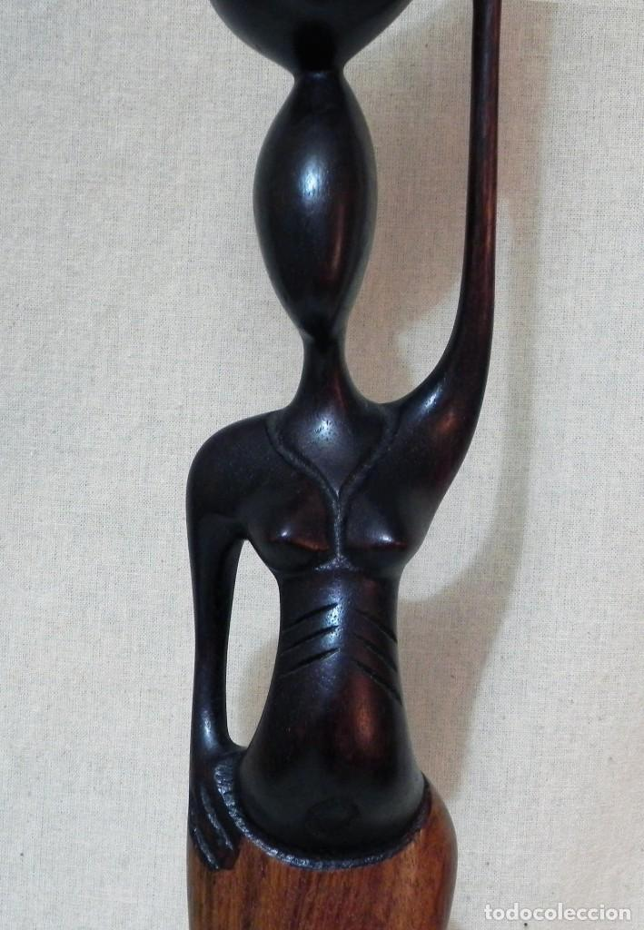 Arte: Escultura AFRICANA Talla Madera Ébano Figura Mujer Campesina Artesanía África Estatua - Foto 12 - 194010817