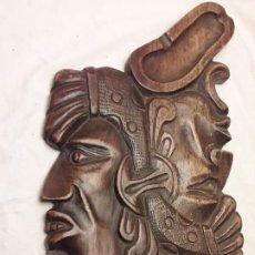 Arte: BELLA TALLA DE MADERA DOBLE CARA ARTE MEXICANO GUERREROS MAYAS O TEOTIHUACÁNES 46CM. Lote 194147181