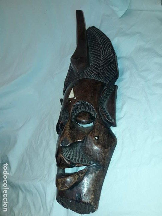 Arte: Bella talla madera Mascara Africana con incrustaciones de hueso o marfil - Foto 4 - 194147853