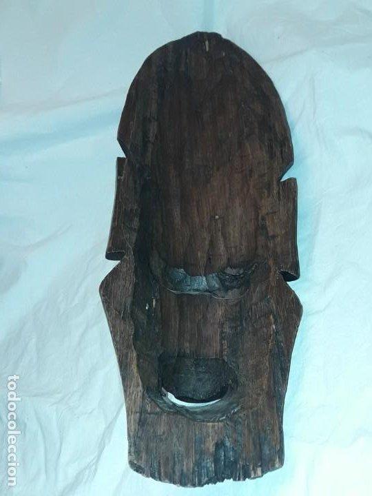 Arte: Bella talla madera Mascara Africana con incrustaciones de hueso o marfil - Foto 12 - 194147853