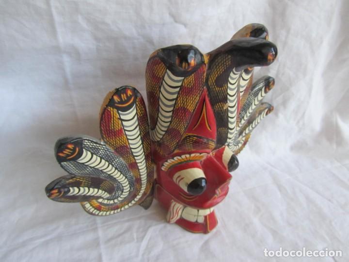 Arte: Máscara de madera hecha y pintada a mano Indonesia Bali Tailandia - Foto 4 - 194218231