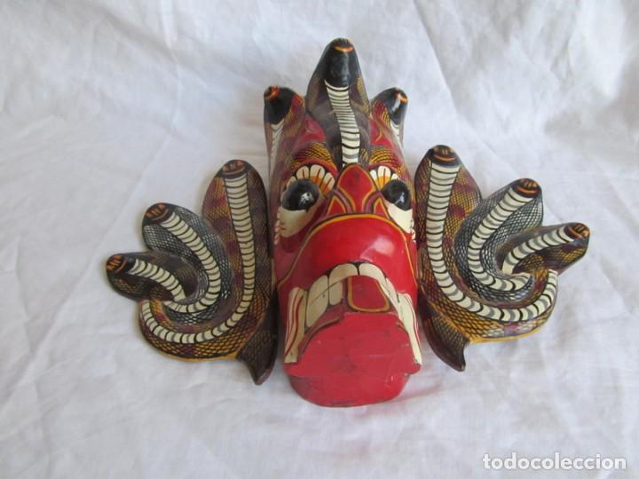 Arte: Máscara de madera hecha y pintada a mano Indonesia Bali Tailandia - Foto 6 - 194218231
