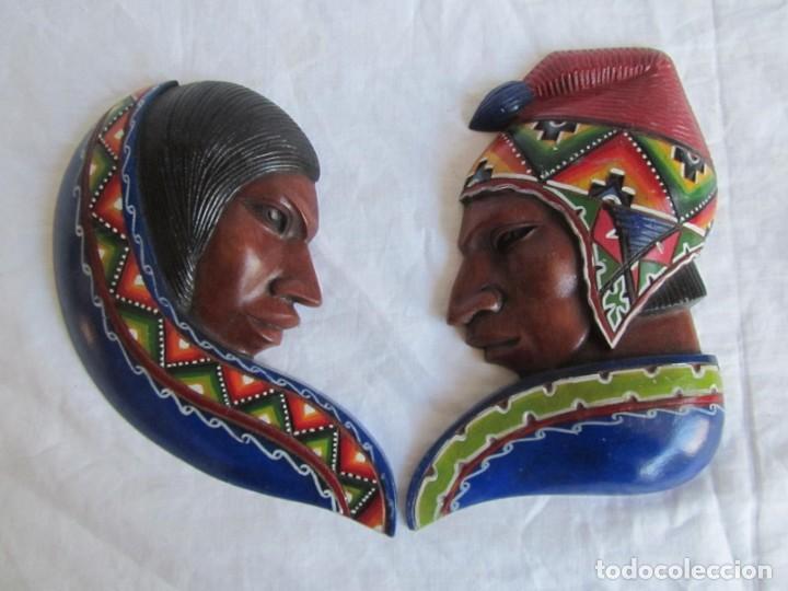 Arte: Caretas de madera hechas y pintadas a mano para colgar Perú - Foto 2 - 194218681