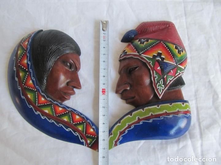 Arte: Caretas de madera hechas y pintadas a mano para colgar Perú - Foto 3 - 194218681
