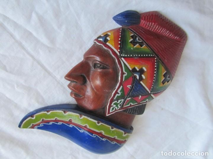 Arte: Caretas de madera hechas y pintadas a mano para colgar Perú - Foto 4 - 194218681