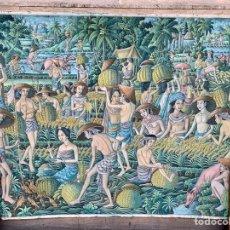 Arte: ESPECTACULAR LIENZO DE BALINENSE, 180X135 CM, KT SUKEJA TAMAN UBUD BALI. Lote 194234437