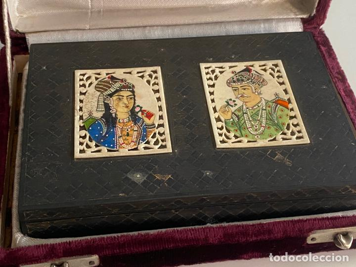 Arte: Anglo Indian Miniature Emperor Akbar AND WIFE . CAJA INDIA DE METAL CON MINIATURAS , EMPERADOR - Foto 5 - 194291400