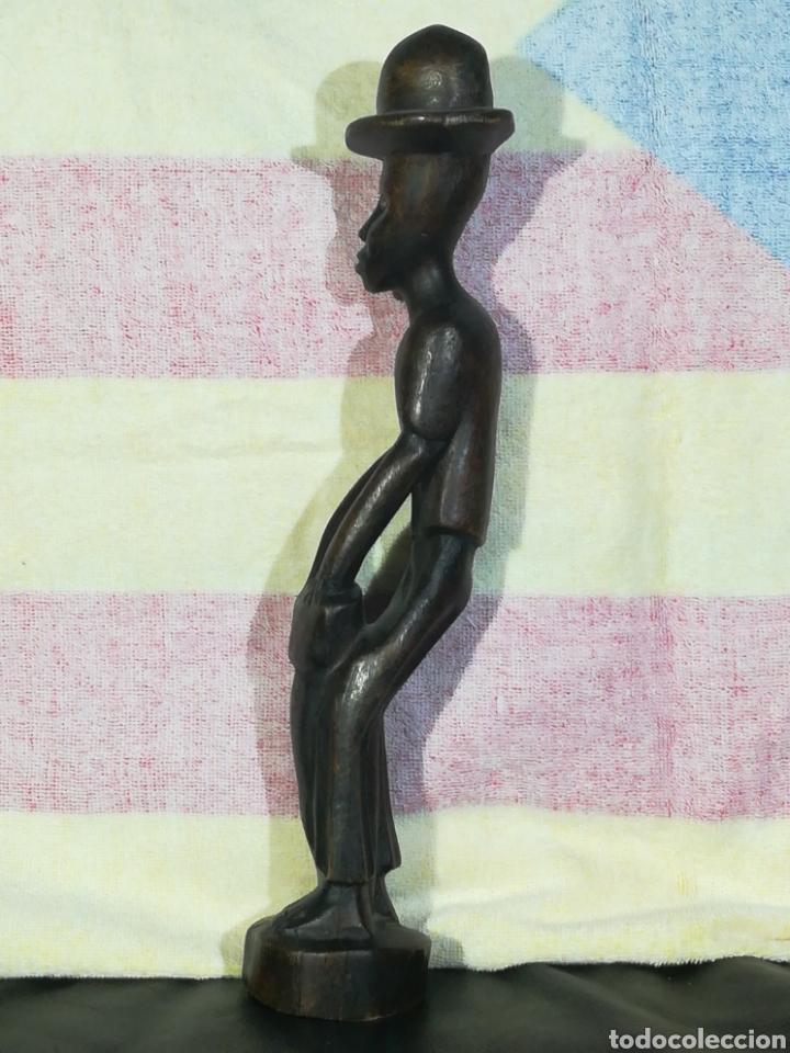 Arte: TALLA DE MADERA AFRICANA MUSICO TOCANDO EL TAMTAM 35cm alto - Foto 3 - 194298955