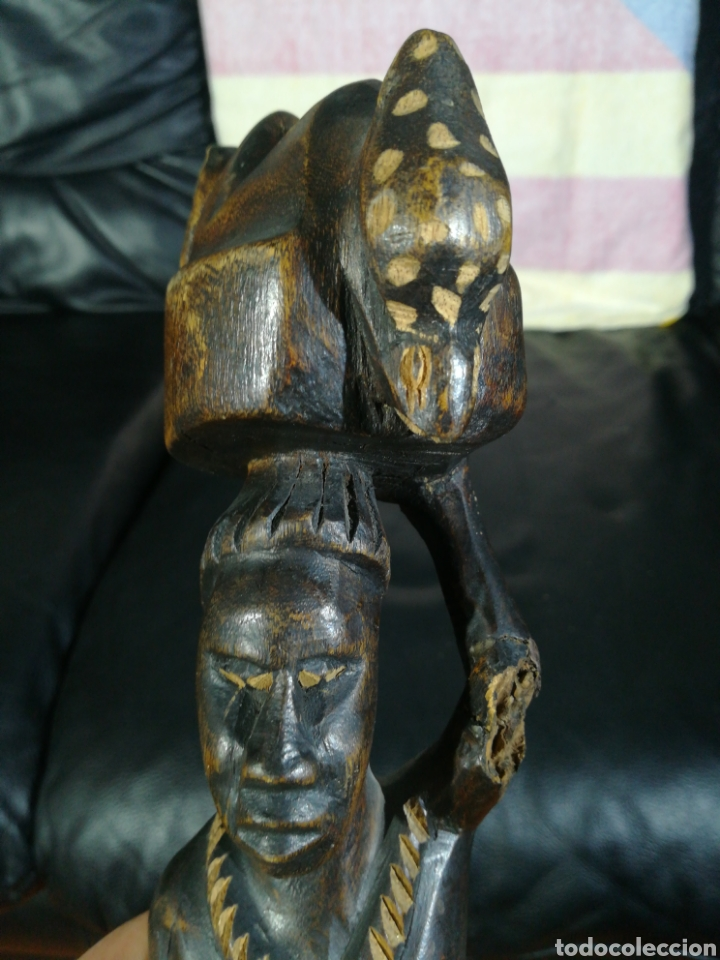 Arte: TALLA DE MADERA AFRICANA MUJER TAREAS COTIDIANAS 33CM - Foto 5 - 194299083